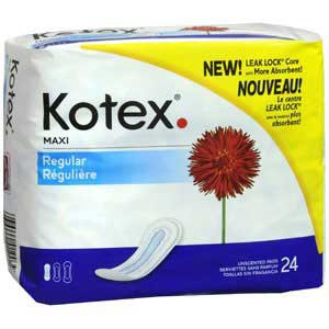 Kotex® Pad Feminine Maxi Regular Absorbency