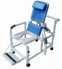 "Lumex 20"" PVC Reclining Shower Commode Chair with Footrest, Swing Away Arms, Soft Seat and Safety Belt"