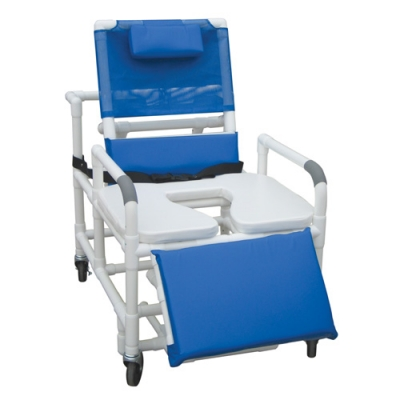 "Lumex 30"" Bariatric Reclining Commode Bath Seat with Elevated Leg Rest, Swing Away Arms, Soft Seat, and Safety Belt"