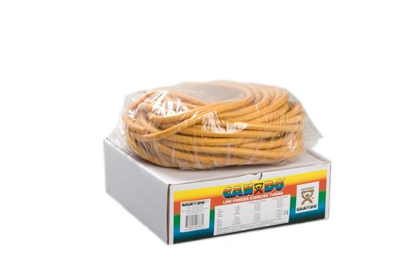 CanDo® Low Powder Exercise Tubing - 100' dispenser roll - Gold - xxx-heavy