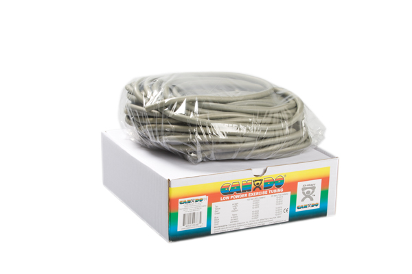 CanDo® Low Powder Exercise Tubing - 100' dispenser roll - Silver - xx-heavy
