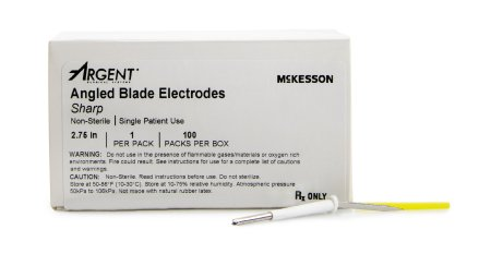 Dermal Tip Electrode  Argent™ Stainless Steel Sharp Angled Blade Disposable NonSterile 2.75