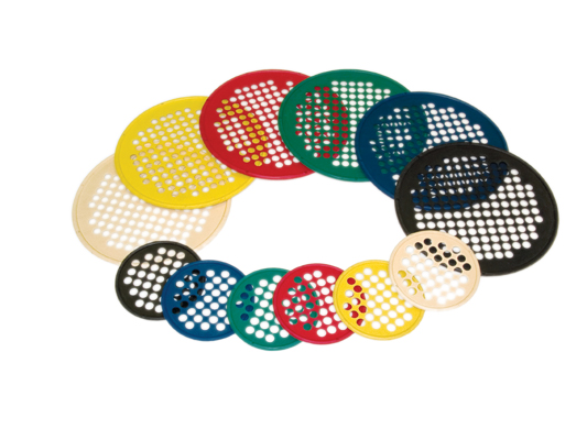 "Hand Exercise Web - Low Powder - 14"" Diameter - 6-piece set (tan, yellow, red, green, blue, black)"