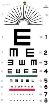 "Illiterate/Tumbling E Hanging Eye Chart, 20' Distance, 22"" x 11"""