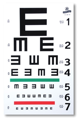 "Illuminated Illiterate/Tumbling E Eye Test Chart-10' Distance, 20' Equivalent Distance, 14"" x 9"""