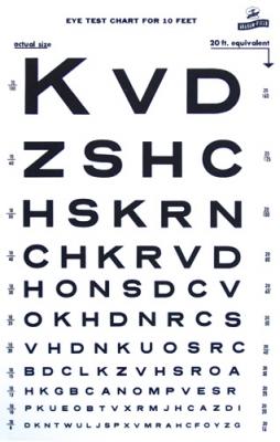 Snellen Type Plastic Eye Chart 10' distance