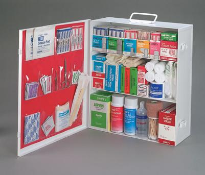 Radnor® Four-Shelf 50 Person Durable Metal Industrial First Aid Cabinet