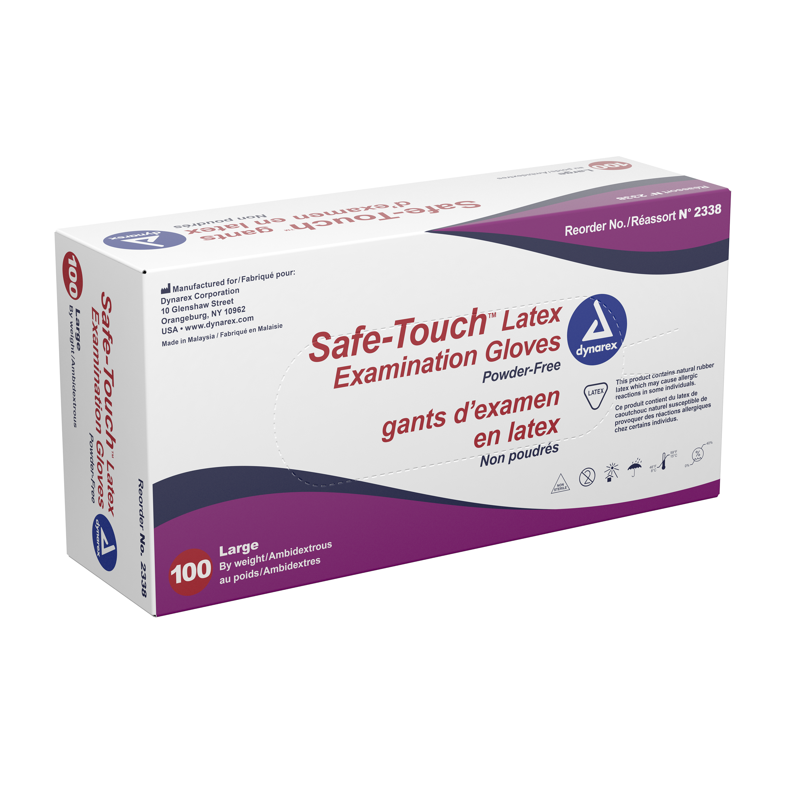 Safe-Touch Latex Exam Gloves Powder Free, M, 10/100/Cs