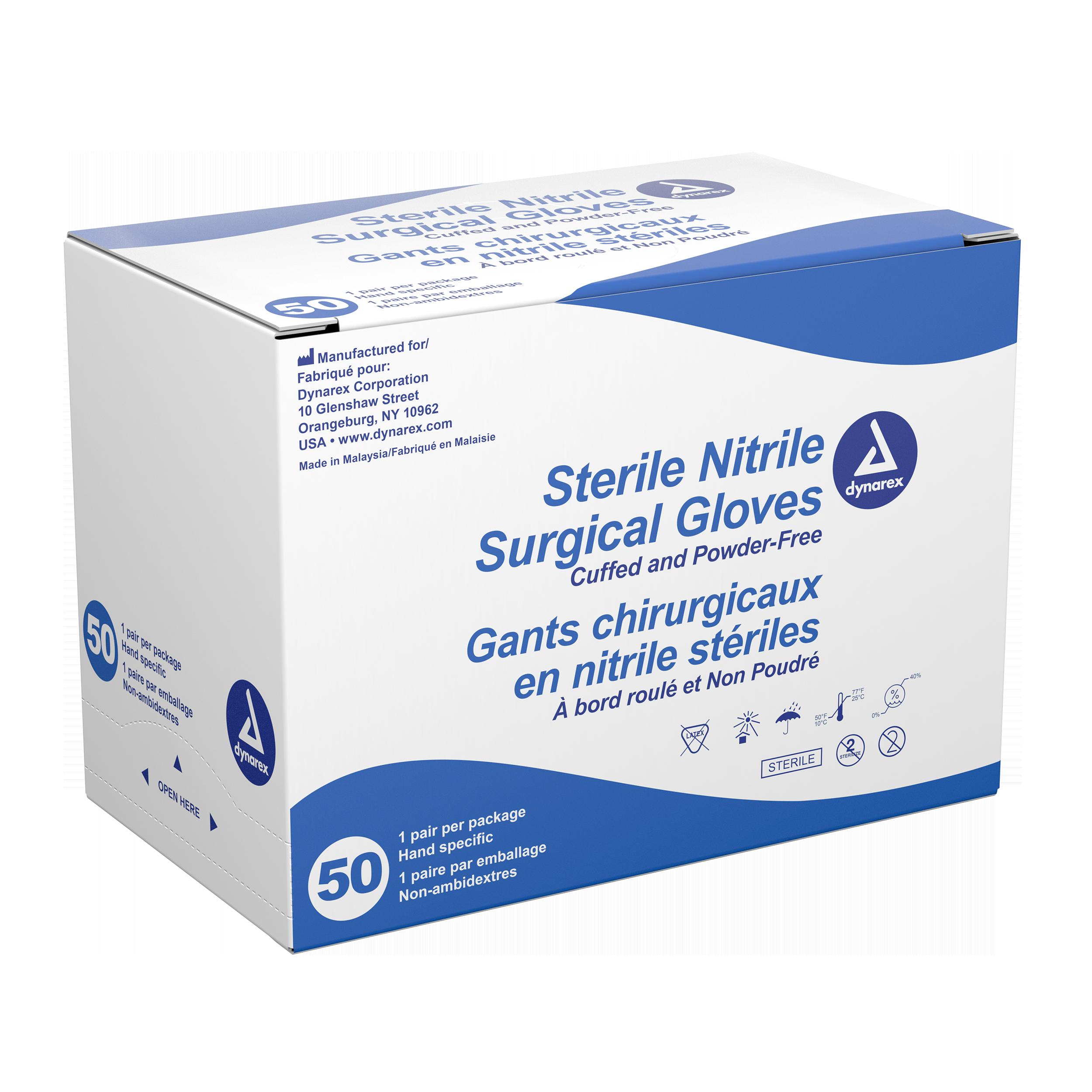 Sterile Nitrile Exam Gloves Pairs 4bx/50/cse 7