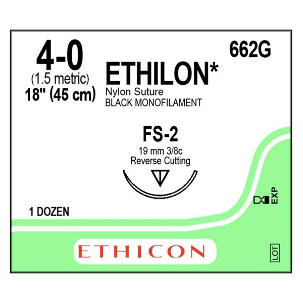 SUTURE ETHILON 4-0 FS-2 BLACK MONOFILAMENT 18IN 45CM