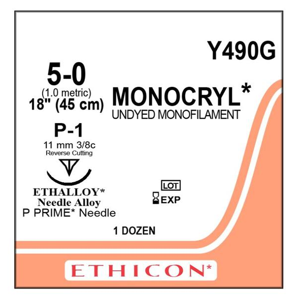 SUTURE MONOCRYL 5-0 P-1 UNDYED MONOFILAMENT 18IN