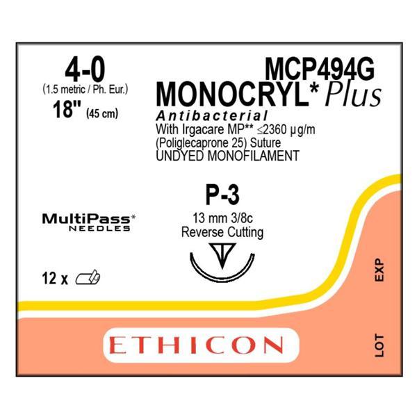 SUTURE MONOCRYL PLUS UD 4-0 18IN P-3