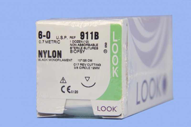 SUTURE NYLON 6-0 10IN C17 BLACK (12/BX)