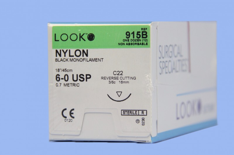 "SUTURE, NYLON 6-0 18"" C-22"